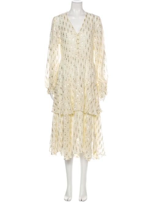 LoveShackFancy Silk Long Dress Yellow