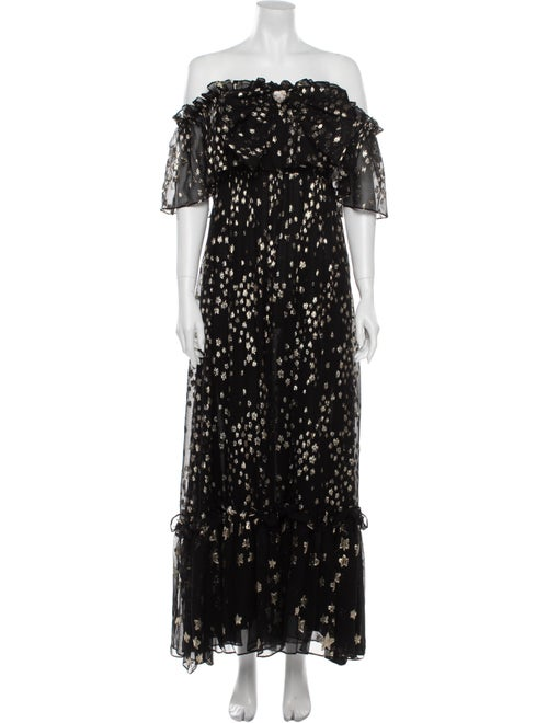 LoveShackFancy Silk Long Dress Black