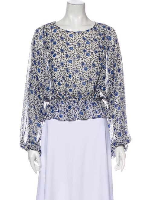 LoveShackFancy Silk Floral Print Blouse Blue