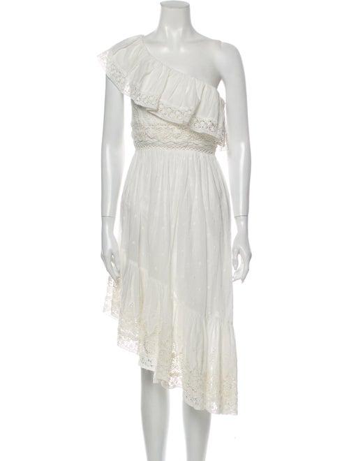 LoveShackFancy One-Shoulder Knee-Length Dress Whit