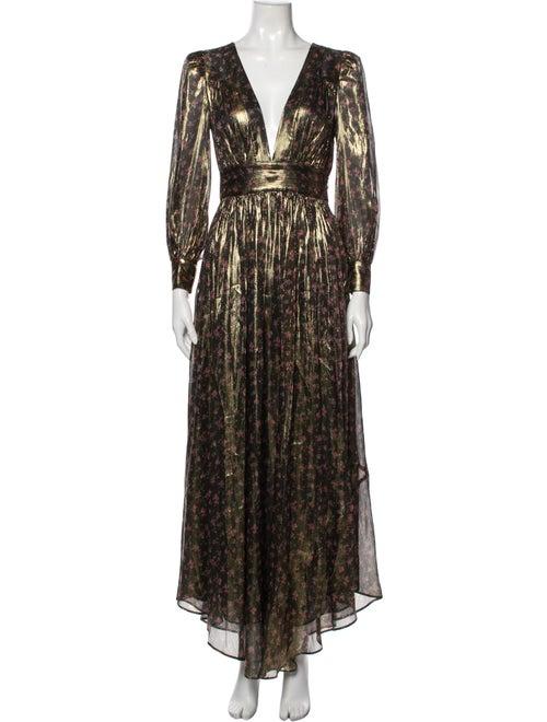 LoveShackFancy Silk Long Dress Gold