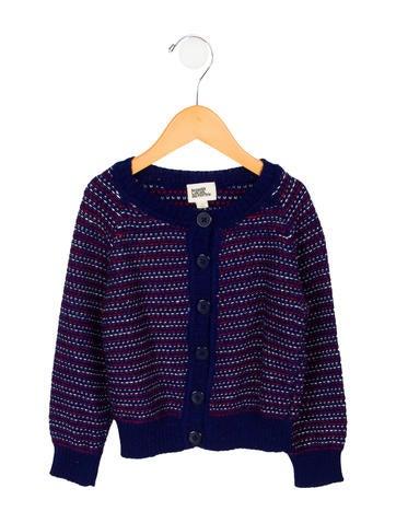 Le Petit Lucas Du Tertre Girls' Alpaca Patterned Knit Cardigan None