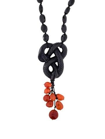 Lalique Onyx & Carnelian Snake Pendant Necklace