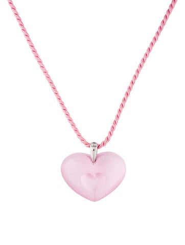 Lalique Crystal Heart Pendant Necklace None