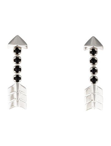 Lalique Onyx Arrow Drop Earrings None