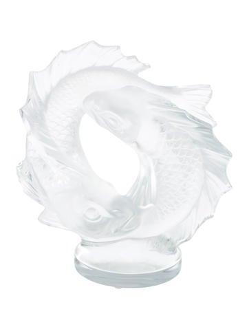Lalique Crystal Double Fish Sculpture None