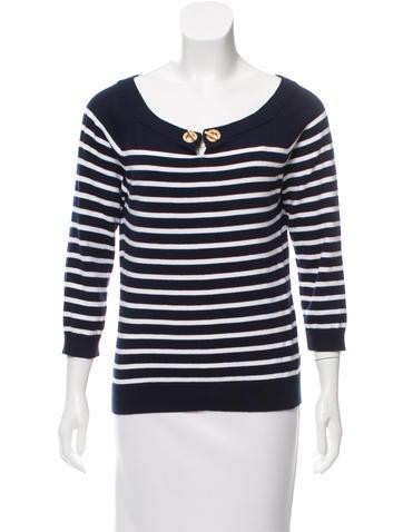 Lauren Ralph Lauren Striped Keyhole-Accented Sweater None