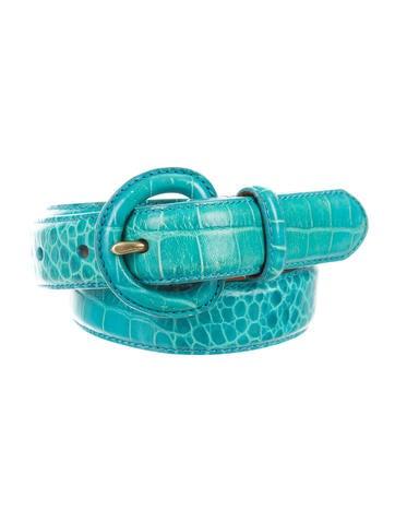 Lauren Ralph Lauren Embossed Leather Buckle Belt None
