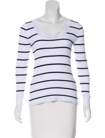 Lauren Ralph Lauren Lace-Trimmed Striped Top None