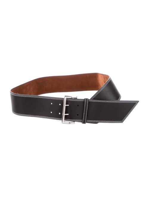 Lambertson Truex Leather Wide Waist Belt Black