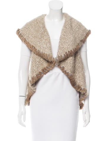 Love Token Fur-Trimmed Knit Vest None