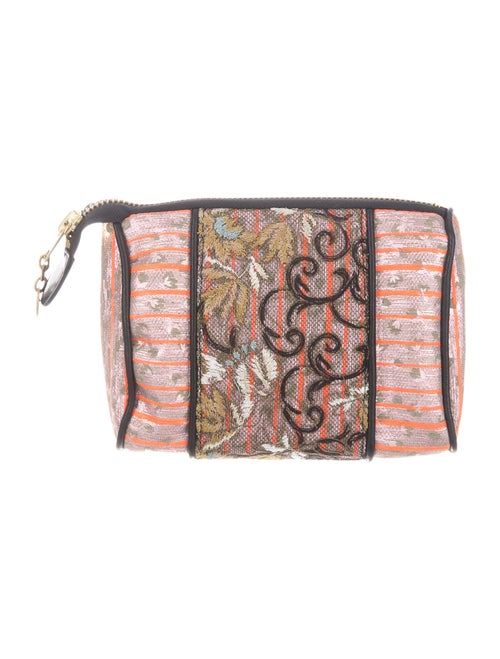 Mayle Metallic Embroidered Cosmetic Pouch Metallic