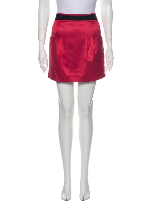 Mayle Pleated Accents Mini Skirt Red