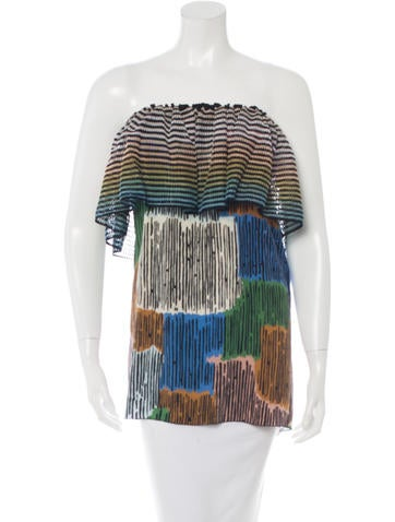 M Missoni Silk Crocheted Top None