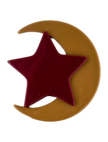 Resin Star & Moon Brooch