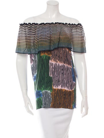 M Missoni Printed Off-The-Shoulder Top None