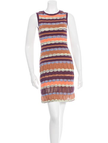 M Missoni Striped Rib Knit Dress None