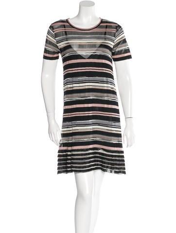 M Missoni Rib Knit Striped Dress None