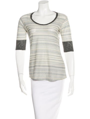 M Missoni Striped Linen Top None