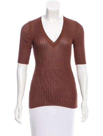 M Missoni V-Neck Rib Knit Top None