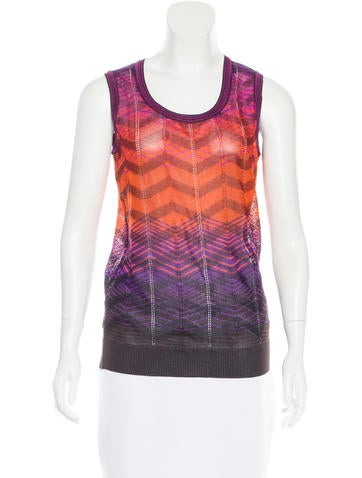 M Missoni Sleeveless Chevron Patterned Top None