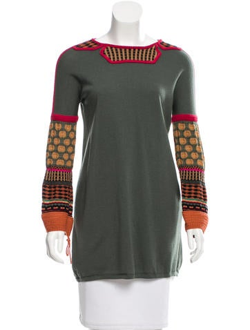 M Missoni Wool Pattern-Accented Tunic None