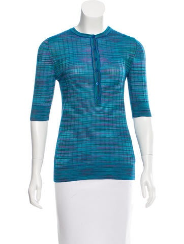 M Missoni Knit Button-Up Top None
