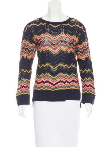 M Missoni Zigzag-Patterned Rib Knit Sweater None