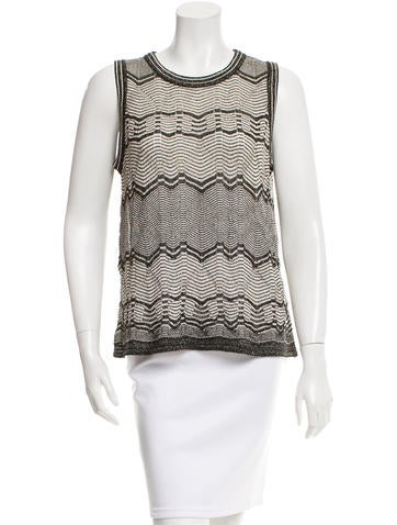 M Missoni Open Knit Sleeveless Top None