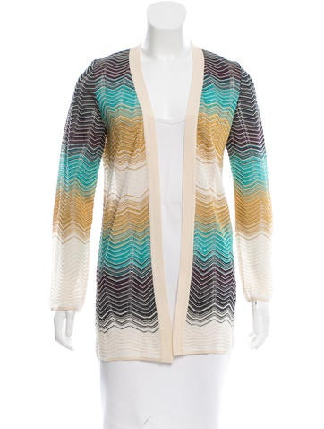 M Missoni Open Front Patterned Sweater None