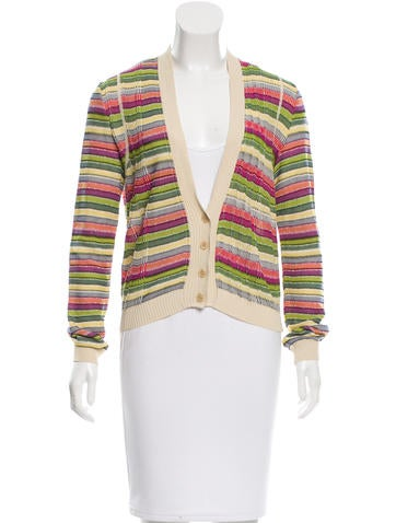 M Missoni Patterned Rib Knit-Trimmed Cardigan None