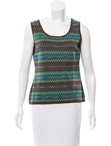 M Missoni Sleeveless Patterned Knit Top None