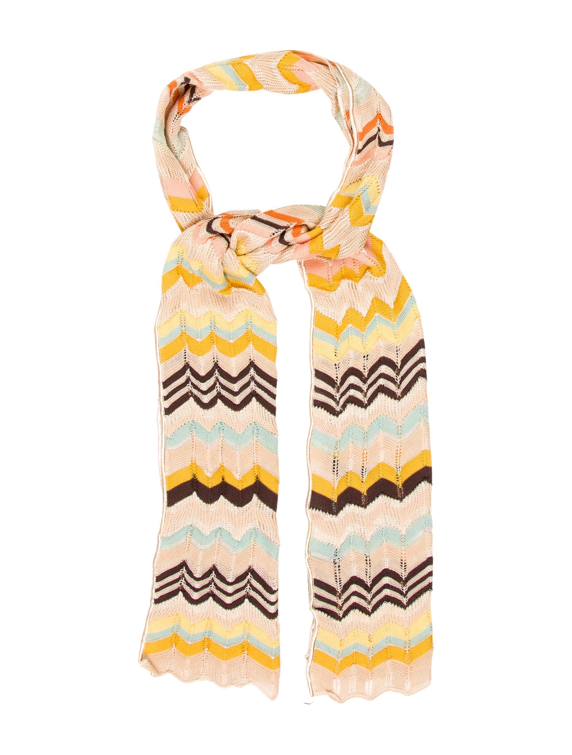 m missoni chevron pattern knit scarf accessories