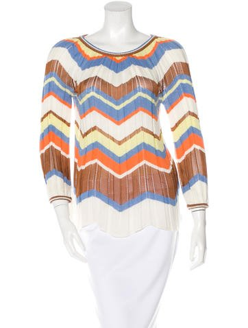 M Missoni Striped Knit Top None