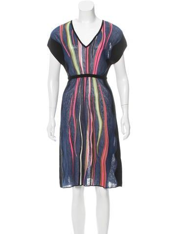 M Missoni Semi-Sheer Striped Dress None