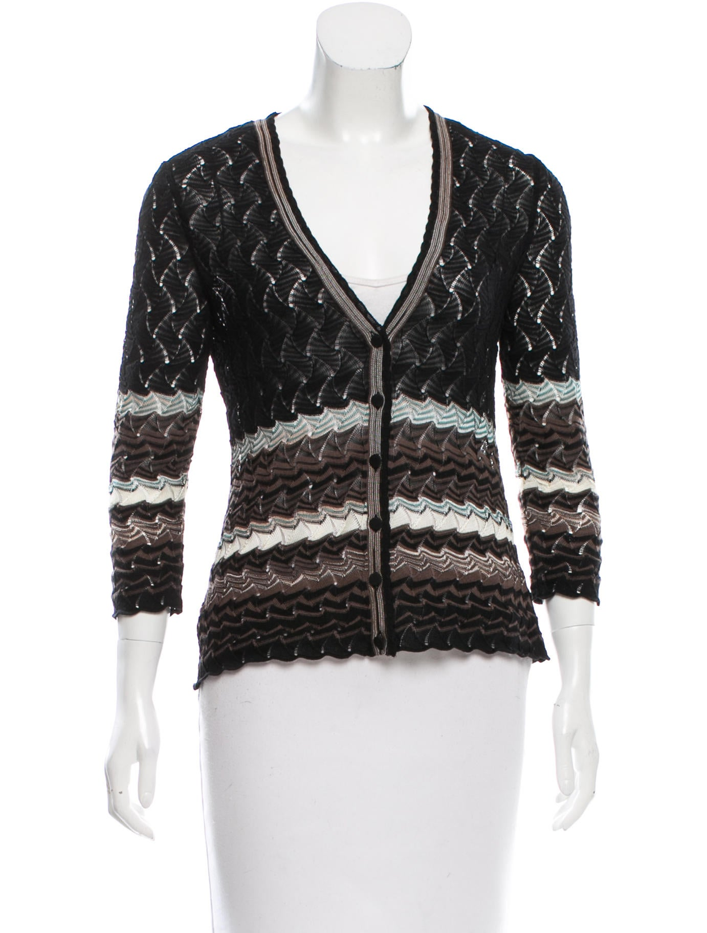 Knitting Pattern Striped Cardigan : M Missoni Striped Knit Cardigan - Clothing - WM438359 ...