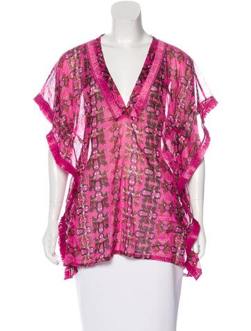M Missoni Abstract Print Fringe-Trimmed Top None