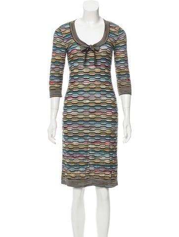 M Missoni Striped Scoop Neck Dress None