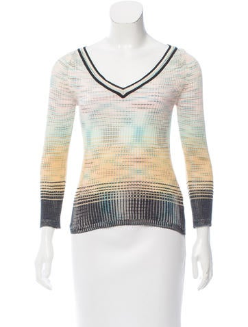 M Missoni V-Neck Rib Knit Sweater None