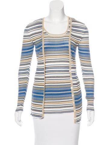 M Missoni Striped Rib Knit Cardigan Set None