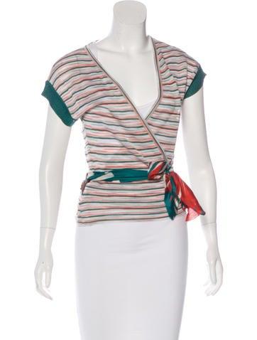 M Missoni Striped Wrap Top None