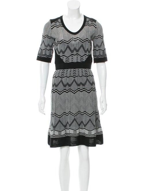 M Missoni Chevron Striped Knit Dress Black