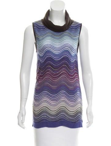 M Missoni Sleeveless Striped Sweater None