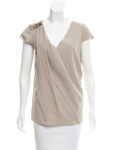 M Missoni Wool & Cashmere-Blend Pleated Top None