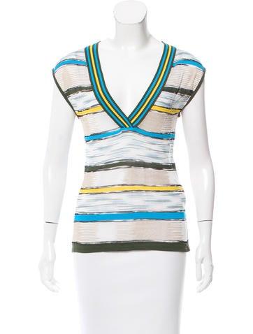 M Missoni Knit Stripe Pattern Top None