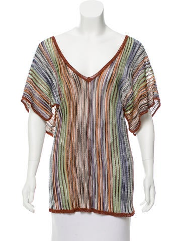 M Missoni Patterned Open Knit Top None