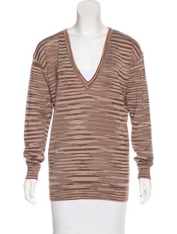 M Missoni Striped V-Neck Sweater None