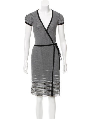 M Missoni Patterned Knit Wrap Dress None