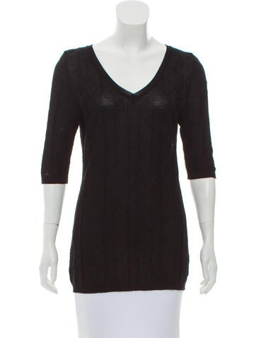 M Missoni Rib-Knit V-Neckline Top None