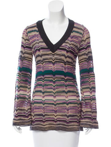 M Missoni Wool Chevron Patterned Sweater None